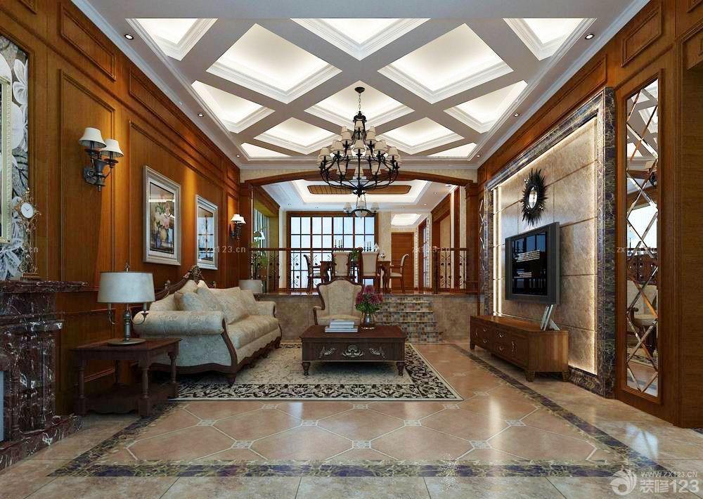 2015经典长方形客厅吊顶设计装修图片大全