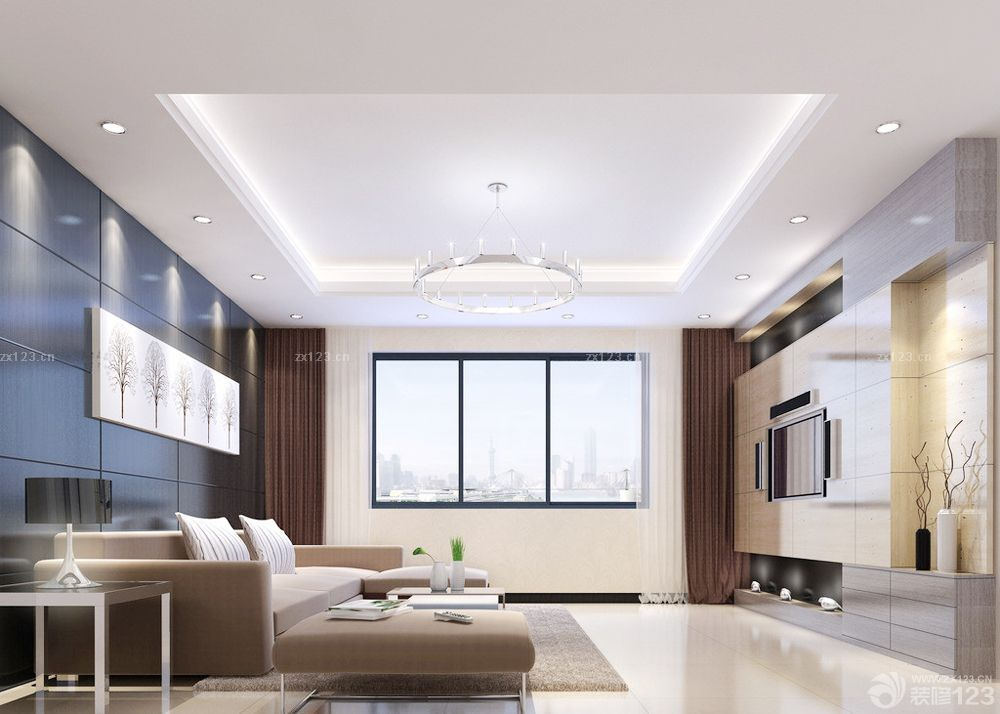 70平米房子白色电视柜装修设计图片欣赏