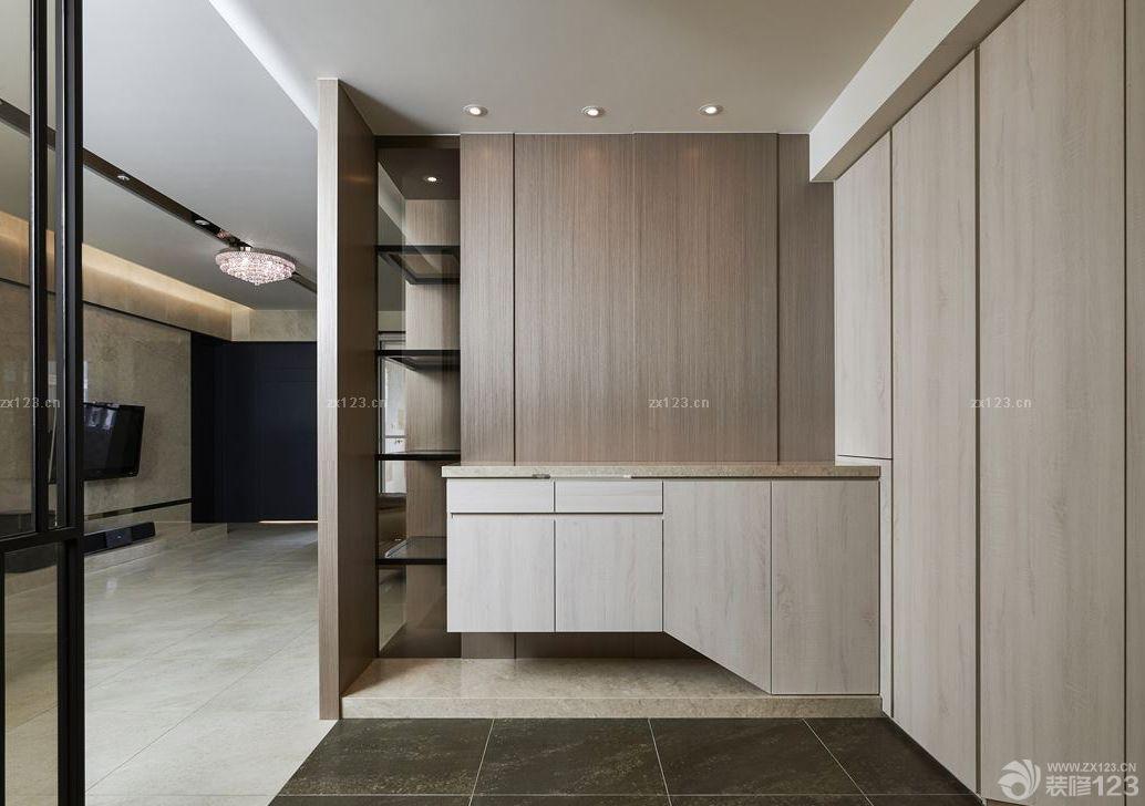 现代欧式风格进门玄关拐角鞋柜装修效果图_设计456装修效果图