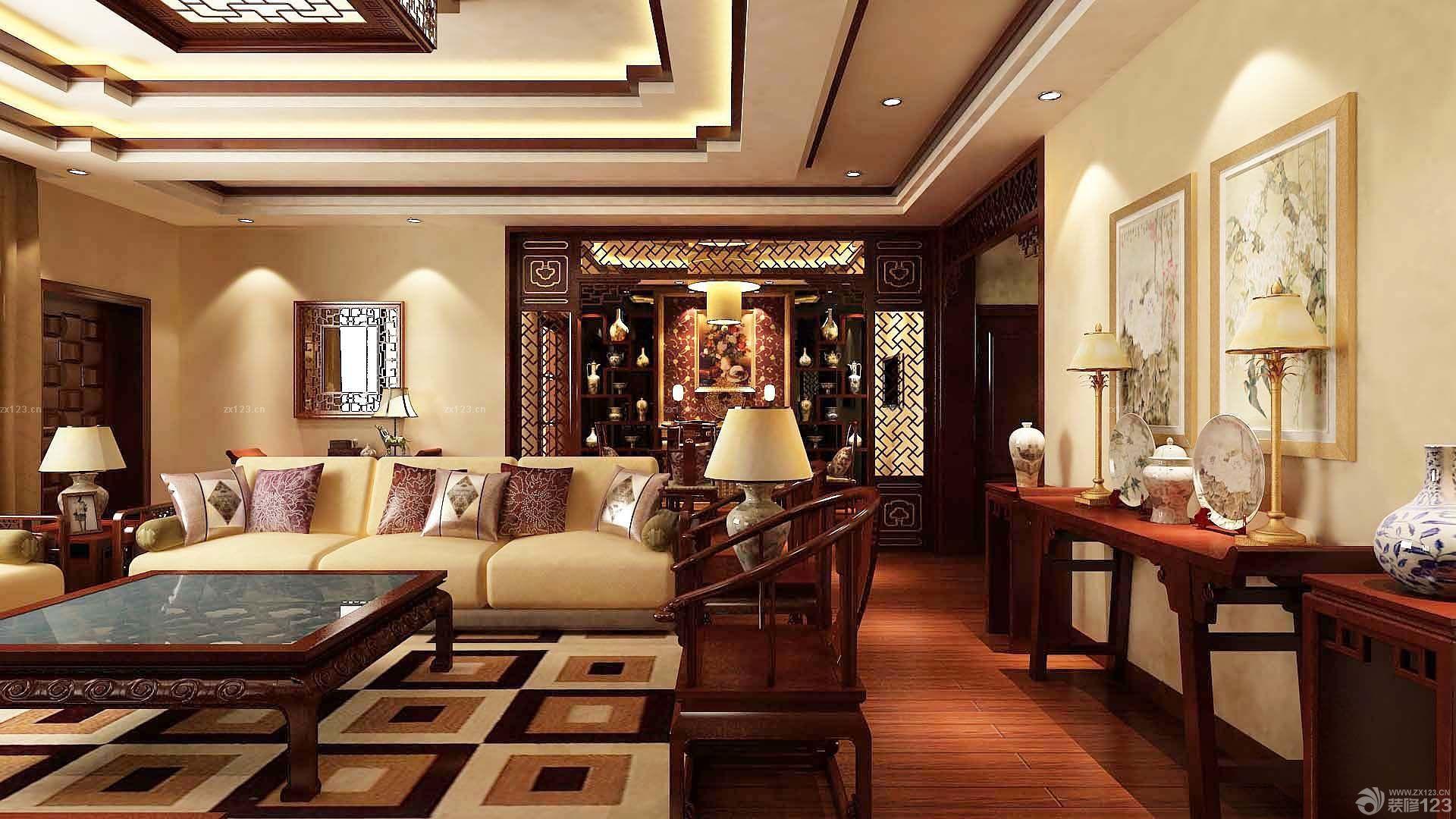 中式新古典客厅家具摆放装修样板间效果图片