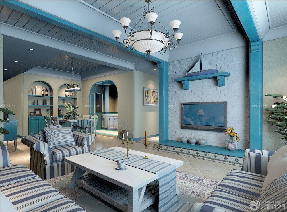 地中海客厅简约电视背景墙设计装修效果图