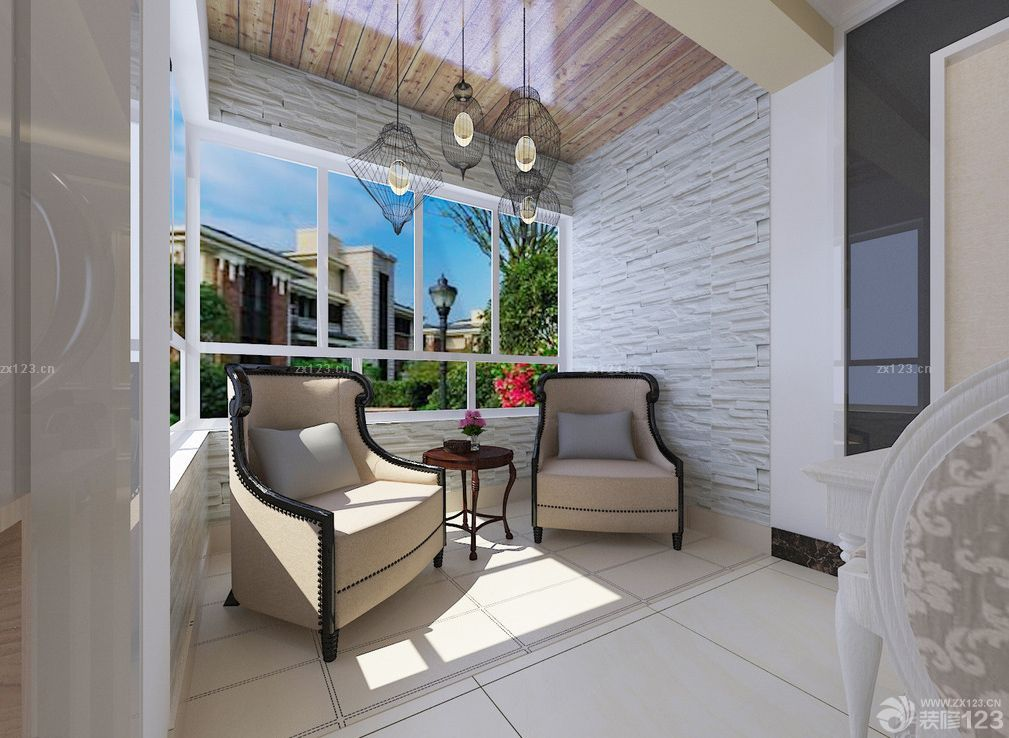 简欧式风格客厅阳台装修图片大全