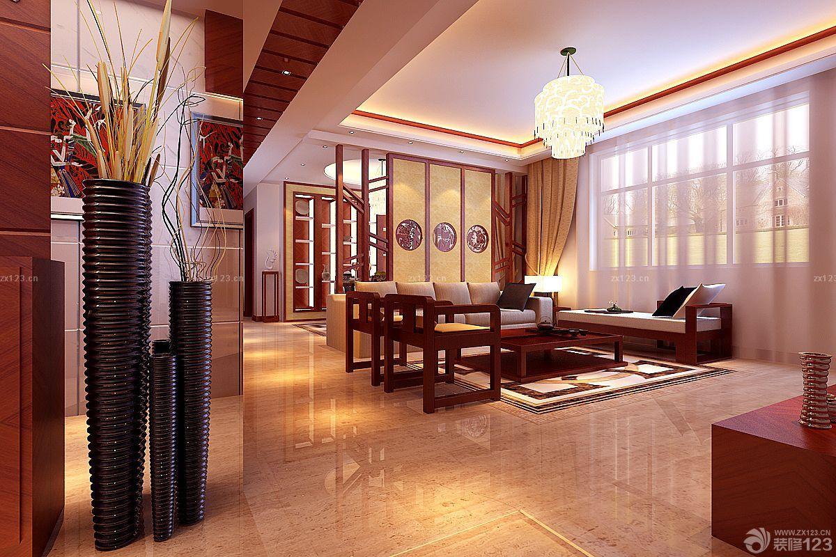 2018中式别墅家居带屏风的客厅装饰设计图片