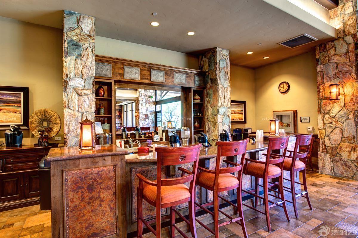 美式风格家庭酒吧台装修效果图片