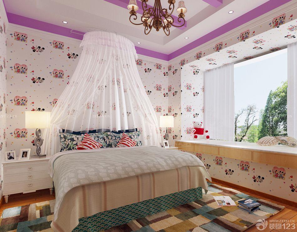 客厅变卧室卡通壁纸装修效果图片2017