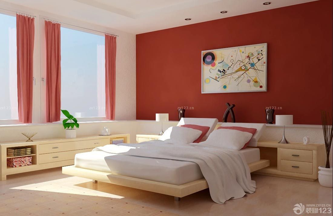 现代家居硅藻泥主卧背景墙效果图2017款