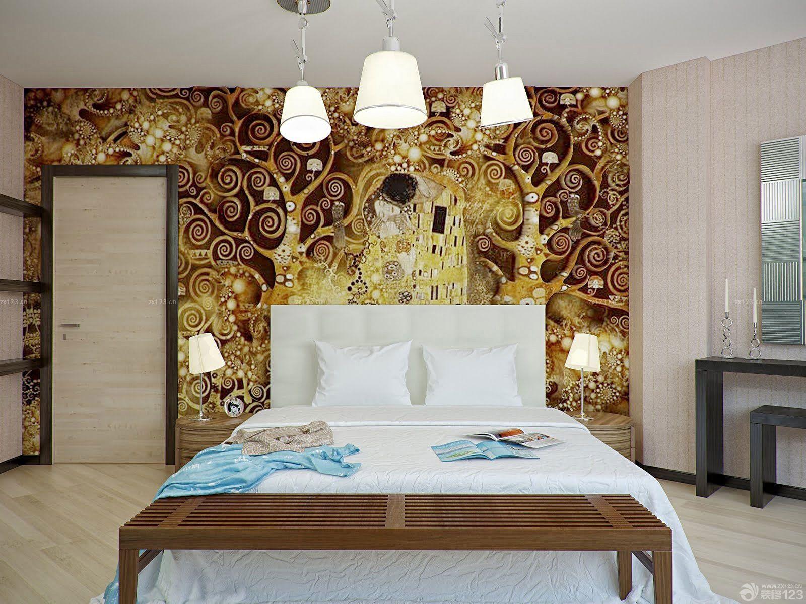 个性硅藻泥主卧室背景墙设计效果图