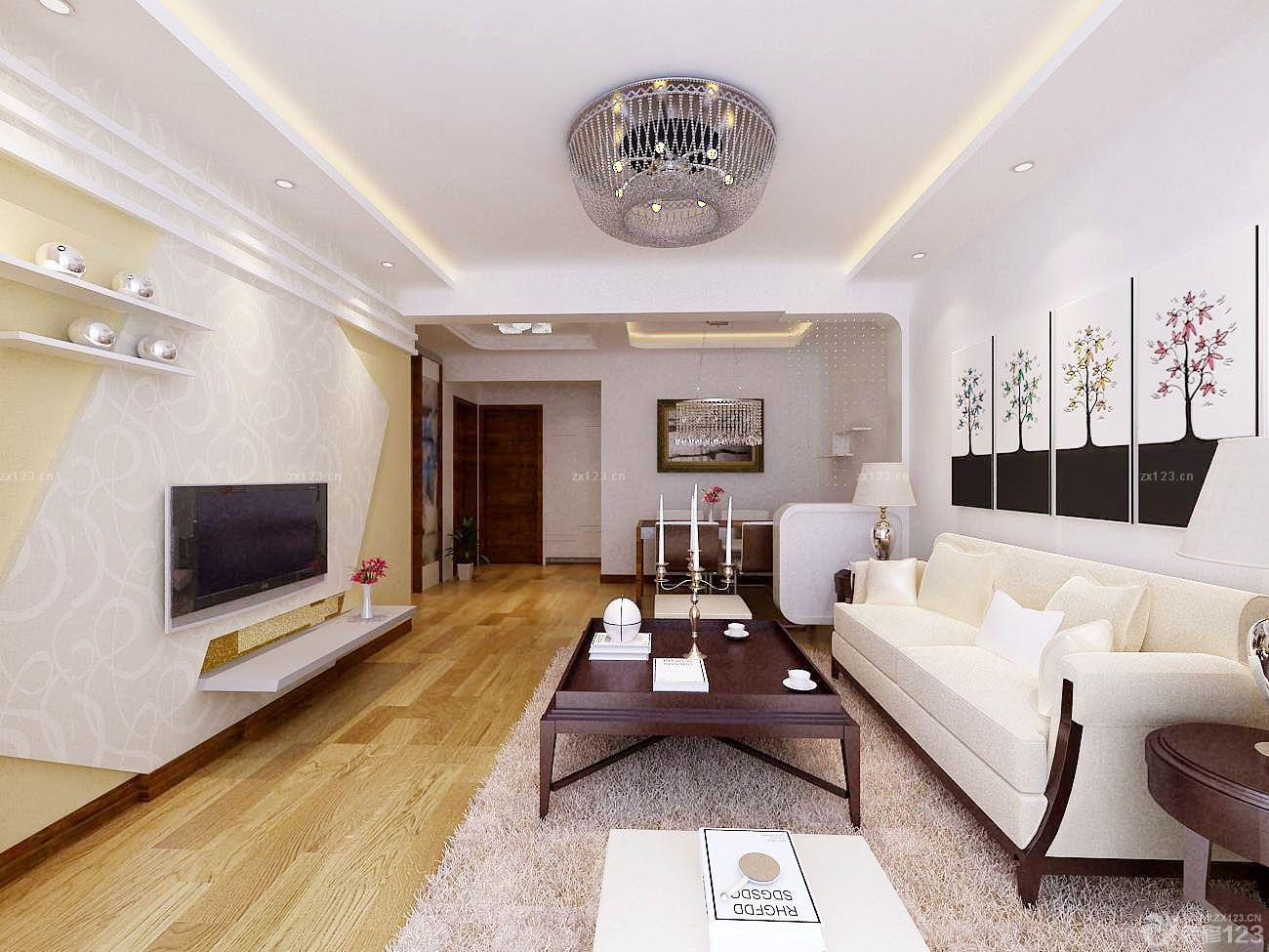 现代客厅电视背景墙硅藻泥设计装修效果图