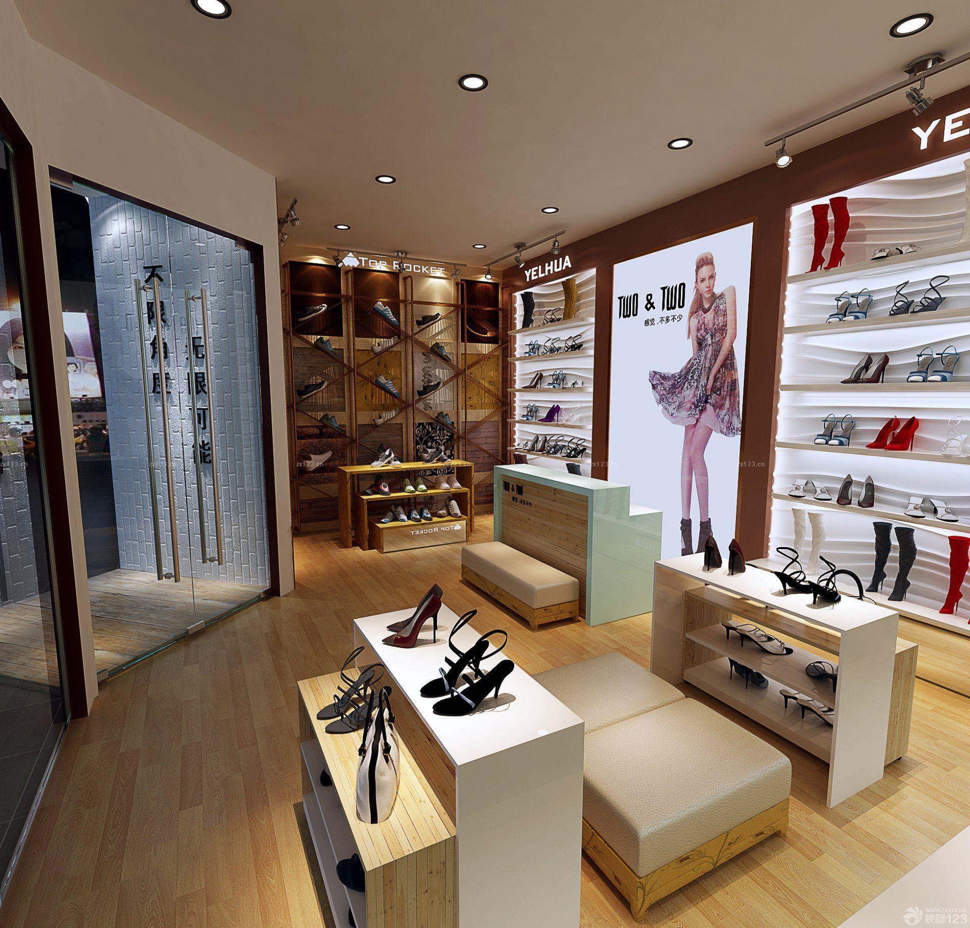 个性鞋店鞋架背景墙设计效果