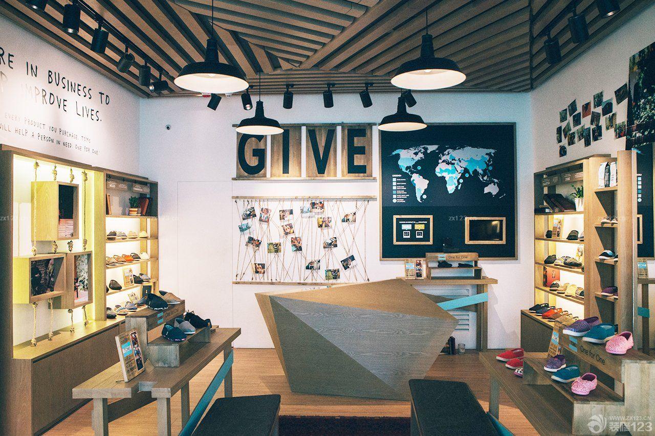 简单的鞋店吊顶造型装修图片_设计456装修效果图