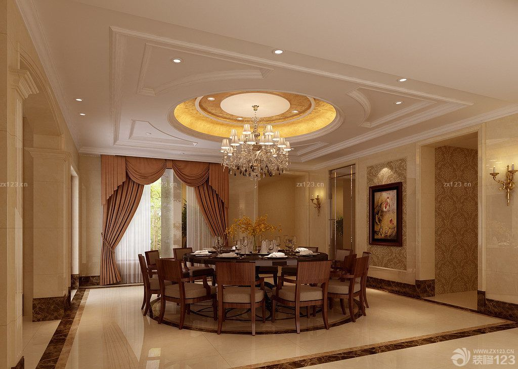 欧式豪华室内拱形门洞装修效果图片