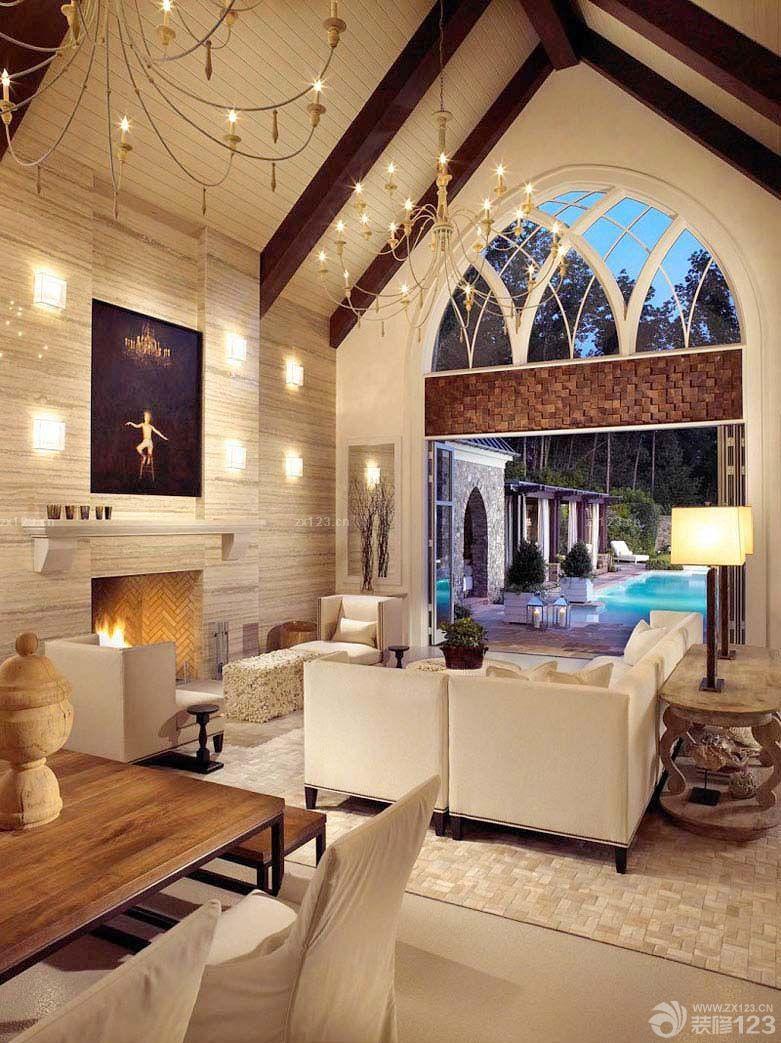 欧式尖顶客厅拱形门洞装修效果图片