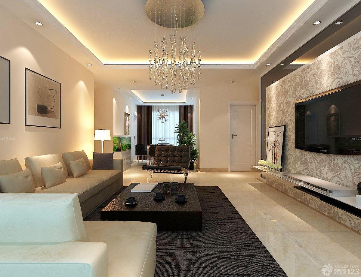 小三房欧式客厅壁纸电视背景墙效果图
