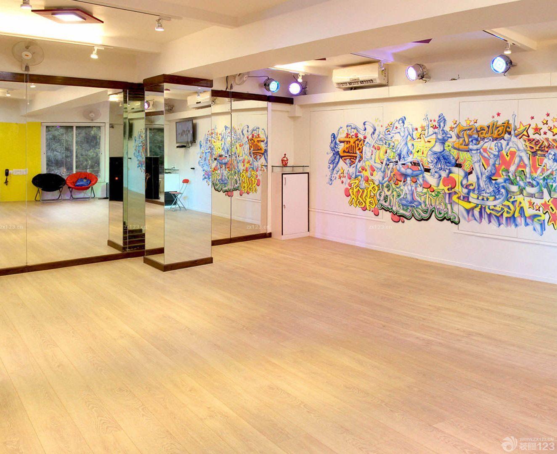 学校舞蹈教室背景墙墙绘设计效果图片