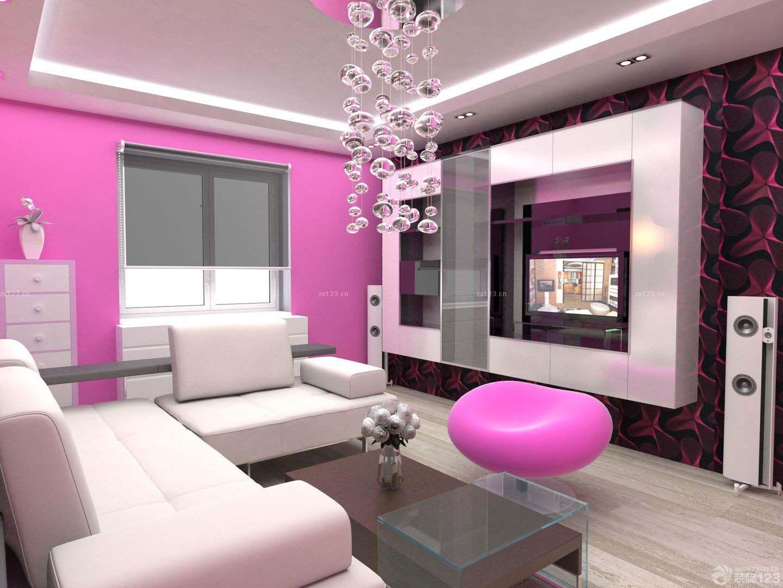现代时尚安置房60平方简装客厅装修效果图