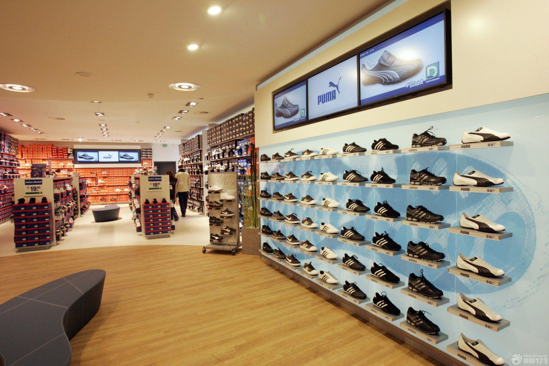 运动鞋店室内背景墙装修_设计456装修效果图