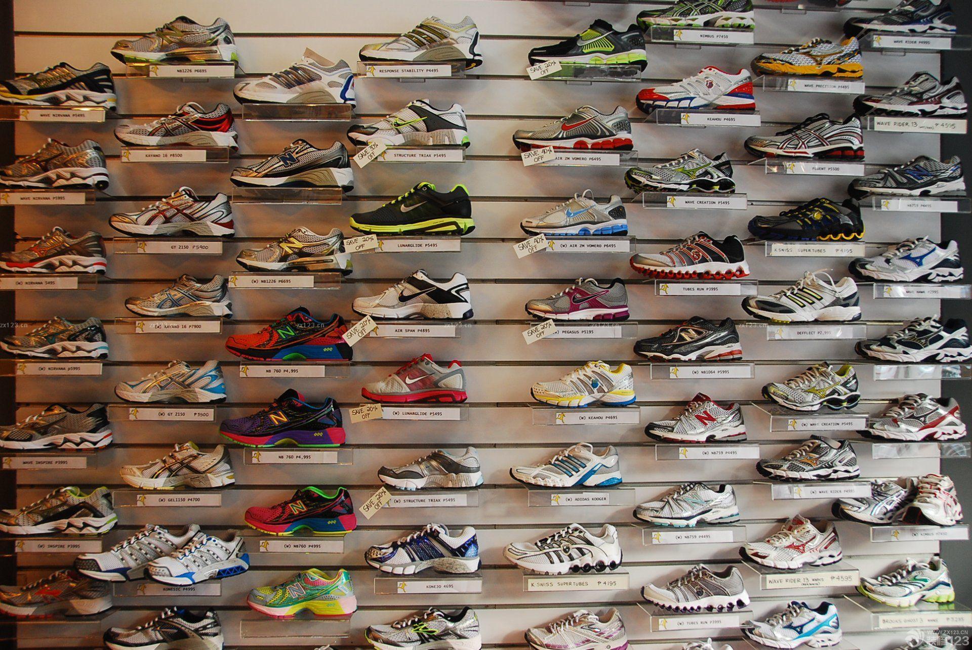 运动鞋店装修鞋架图片