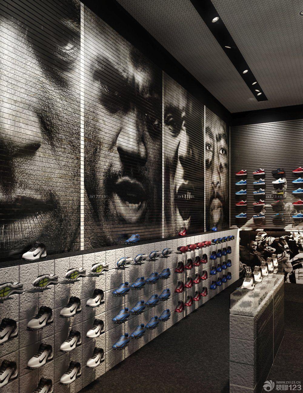 运动鞋店鞋架装修图片