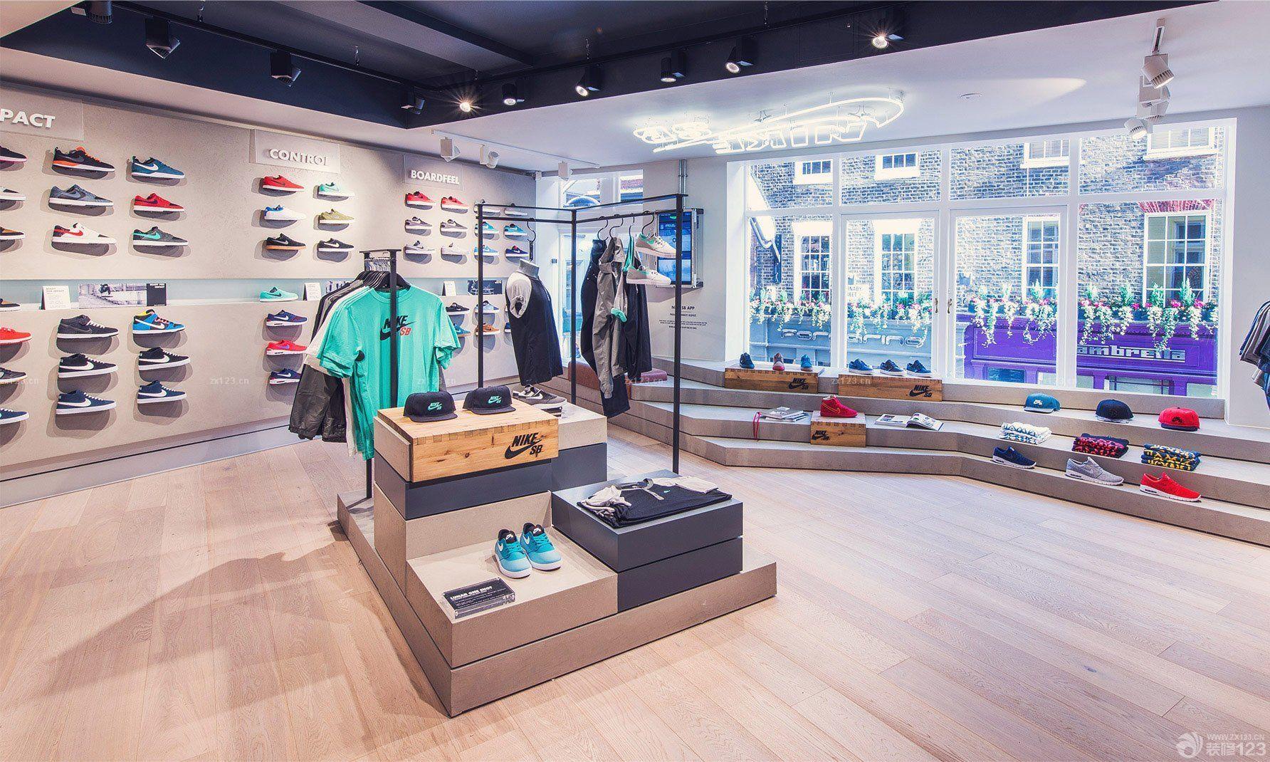 运动鞋店木地板装修鞋架图片_设计456装修效果图